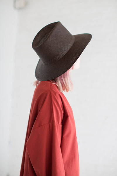Wide Brim Pinch Panama Hat in Espresso
