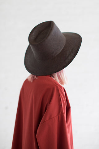 Clyde Wide Brim Pinch Panama Hat in Espresso | Oroboro Store | Brooklyn, New York