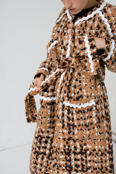 Veronique Leroy Tweed Coat in Beige | Oroboro Store | New York, NY