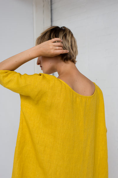 Long Cocoon Dress in Tumeric