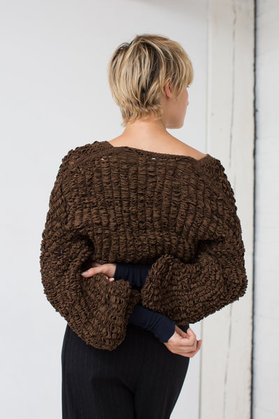 Loop Textured Sweater in Chocolate/Navy