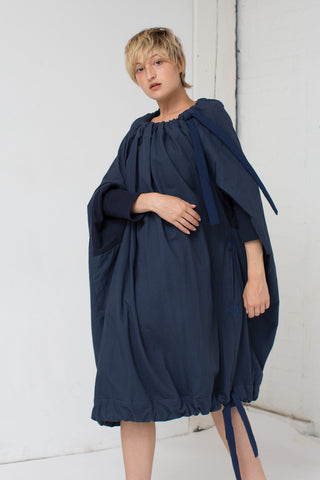 Bernhard Willhelm Dress with Tie at Neck in Navy | Oroboro Store | New York, NY