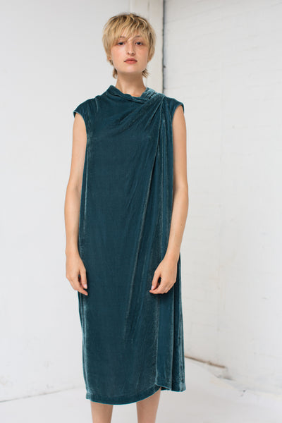 Bernhard Willhelm Corduroy and Velvet Dress in Teal | Oroboro Store | New York, NY