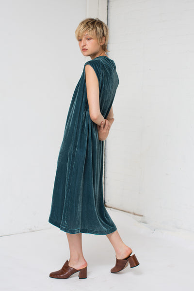 Corduroy and Velvet Dress in Teal