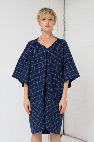 Bernhard Willhelm Plaid Dress in Navy/White | Oroboro Store | New York, NY