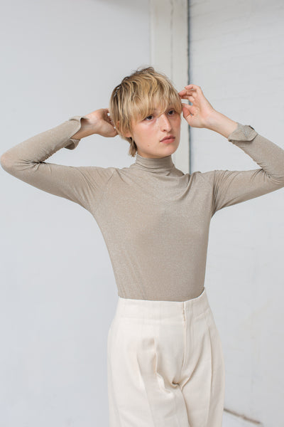 Long Sleeve Mock Neck in Taupe