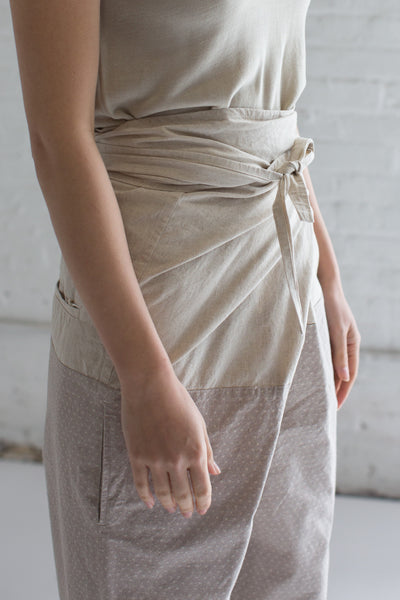 Edo-Komon Wrapped Pants in Natural x Gray