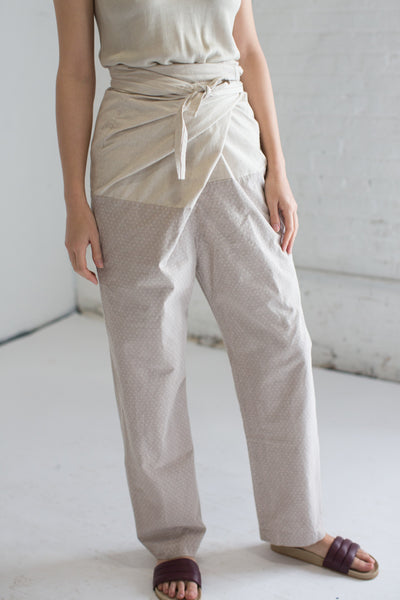 Cosmic Wonder Edo-Komon Wrapped Pants in Natural x Gray | Oroboro Store | Brooklyn, New York