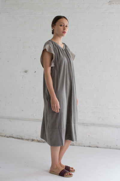 Organic Cotton Draped Dress in Bengara