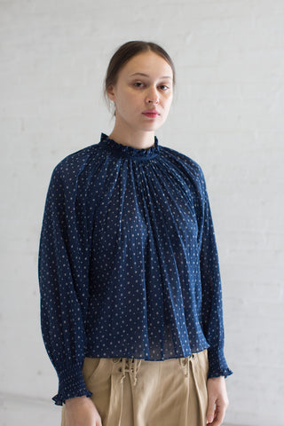 Ulla Johnson Mireille Blouse in Midnight | Oroboro Store | Brooklyn, New York