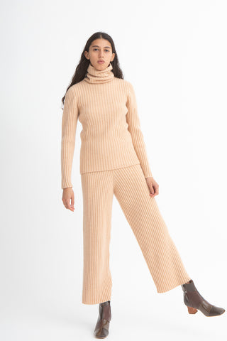 Baserange Maru Pants in Gravel Beige/Rose Front View Full Body, Oroboro Store, New York, NY