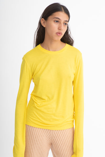 Baserange Long Sleeve Tee in Yellow Front View Close Up