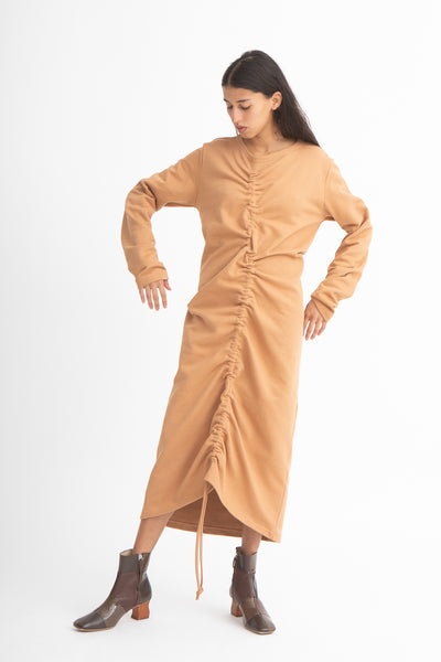 Baserange Alsa Dress in Furano Brown Front View Full Body