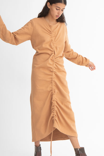 Baserange Alsa Dress in Furano Brown Front View Full Body Arms Away From Sides