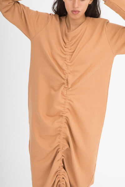 Baserange Alsa Dress in Furano Brown Front View Close Up Arms In Air, Oroboro Store, New York, NY