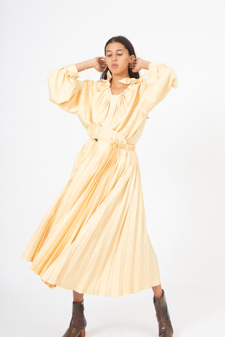 Toga Heavy Pleated Satin Skirt in Yellow, Front View Full Body, Oroboro Store, New York, NY