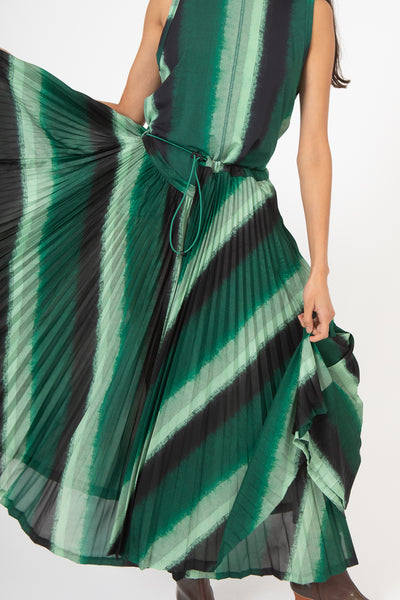Toga Tricot Print Pleated Dress in Green | Oroboro Store | New York, NY
