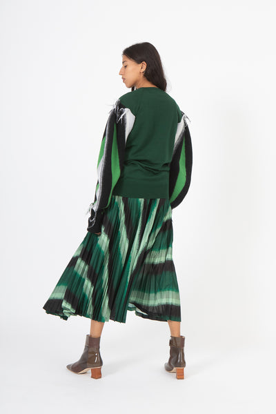 Toga Stripe Knit High Neck Sweater in Green | Oroboro Store | New York, NY