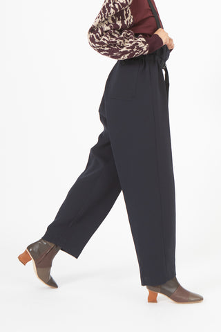 Toga Three Ply Polyester Suspender Pants in Navy | Oroboro Store | New York, NY