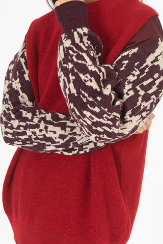Jacquard Knit Pullover in Red