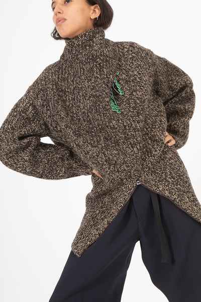 Toga Rib Knit High Neck Sweater in Brown | Oroboro Store | New York, NY