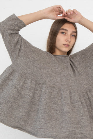 Lauren Manoogian Tier Pullover in Grey Flax cropped front view
