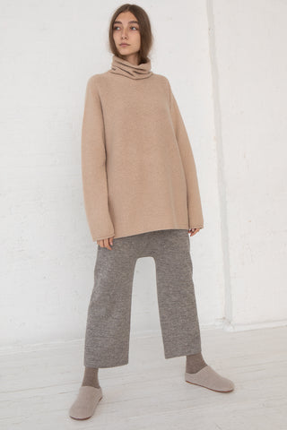 Lauren Manoogian Horizontal Cowlneck in Beige, Front View Full Body, Oroboro Store, New York, NY
