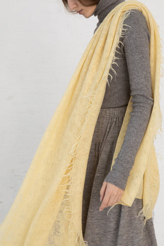 Lauren Manoogian Fringe Scarf in Maize side view, Oroboro Store, New York, NY