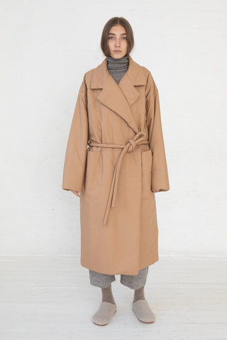 Lauren Manoogian Puff Trench in Adobe full front view, Oroboro Store, New York, NY