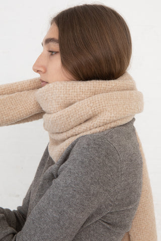 Lauren Manoogian Handwoven Brushed Wrap in Beige Melange cropped side view, Oroboro Store, New York, NY