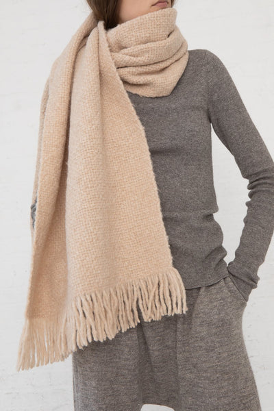 Lauren Manoogian Handwoven Brushed Wrap in Beige Melange cropped front view