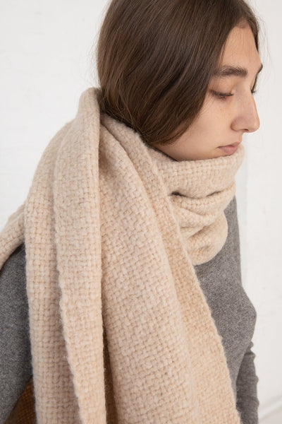 Lauren Manoogian Handwoven Brushed Wrap in Beige Melange cropped side view