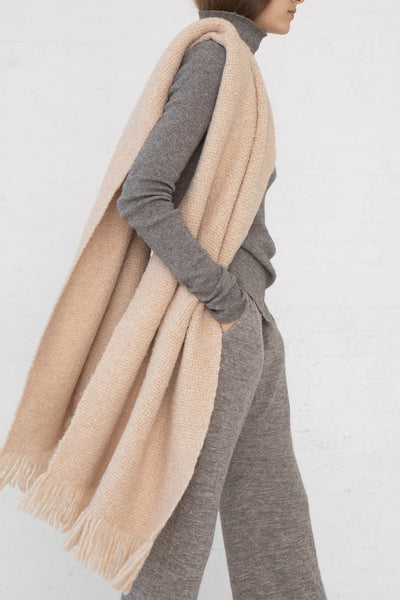 Lauren Manoogian Handwoven Brushed Wrap in Beige Melange side view