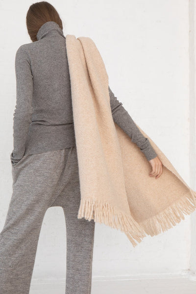 Lauren Manoogian Handwoven Brushed Wrap in Beige Melange back view