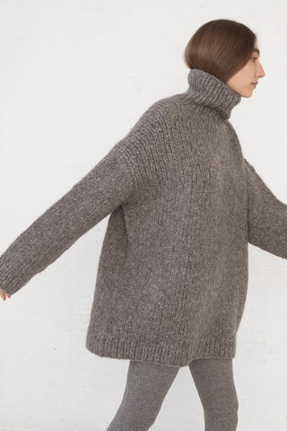 Lauren Manoogian Handknit Turtleneck in Grey Melange side view, Oroboro Store, New York, NY