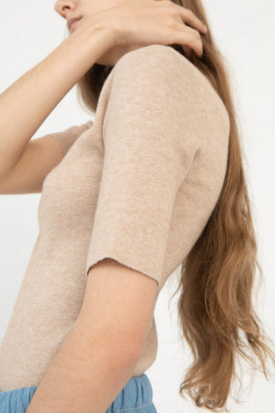 Lauren Manoogian Rib Tee in Beige Melange cropped sleeve view