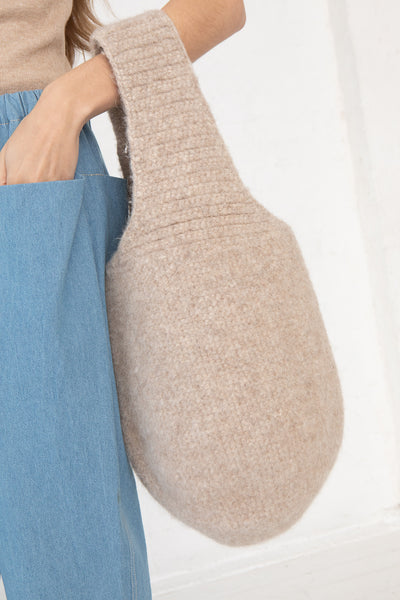 Lauren Manoogian Felt Calabaza Tote in Oatmeal, Side View on Models Arm,  Oroboro Store, New York, NY