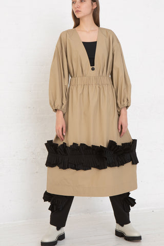 Nancy Stella Soto Pull-On Skirt with Pleats in Khaki, Front View Full Body, Oroboro Store, New York, NY