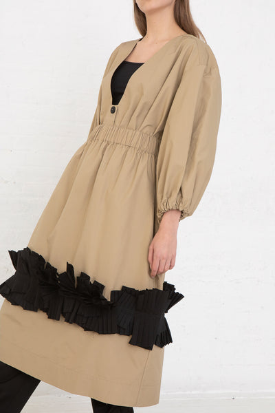 Nancy Stella Soto Pull-On Skirt with Pleats in Khaki, Side View