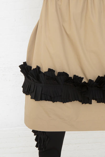 Nancy Stella Soto Pull-On Skirt with Pleats in Khaki, Front View Close Up of Ruffle