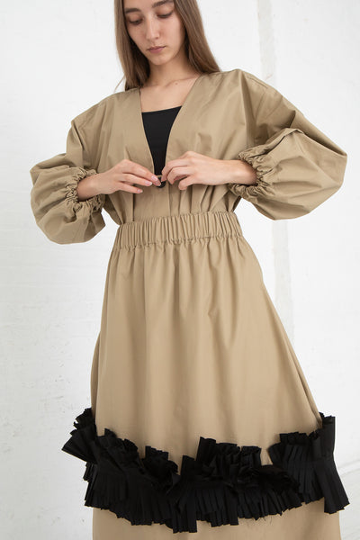Nancy Stella Soto Pull-On Skirt with Pleats in Khaki, Front View Arms at Waist