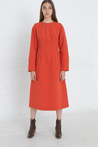 Nomia Darted Dress in Poppy, Front View Full Body, Oroboro Store, New York, NY