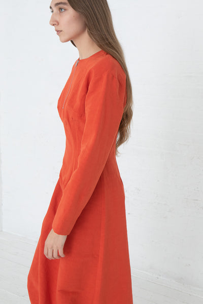 Nomia Darted Dress in Poppy, Side View Close Up