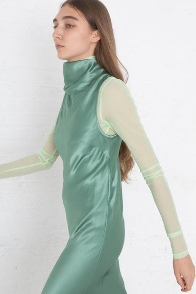 Nomia Cowl Neck Racer Back Dress in Jade, Side View Close Up