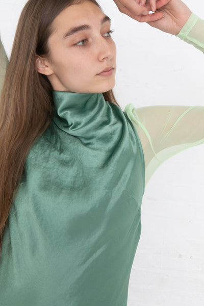 Nomia Cowl Neck Racer Back Dress in Jade, Front View Close Up