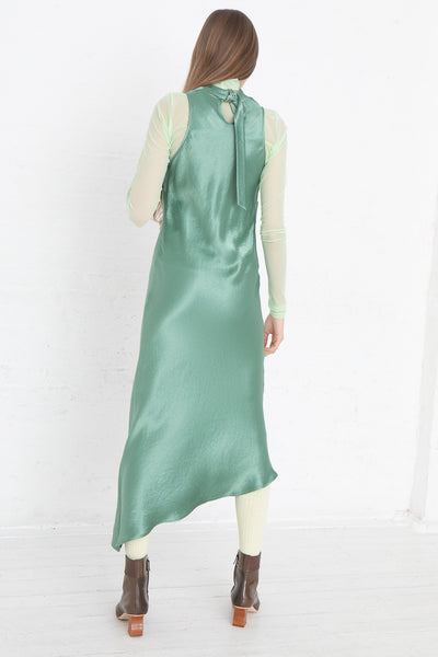 Nomia Cowl Neck Racer Back Dress in Jade, Back View