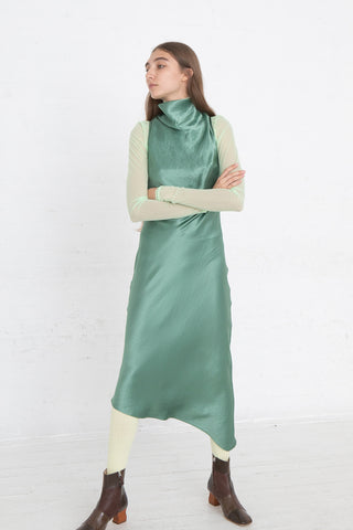 Nomia Cowl Neck Racer Back Dress in Jade, Front View Full Body, Oroboro Store, New York, NY