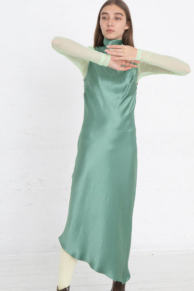Nomia Cowl Neck Racer Back Dress in Jade, Front View Full Body