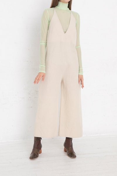 Nomia V-Neck Jumpsuit in Natural, Front View Full Body, Oroboro Store, New York, NY