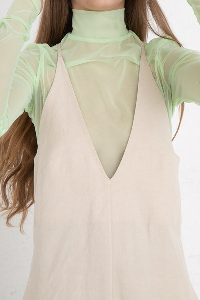 Nomia V-Neck Jumpsuit in Natural, Front View Close Up